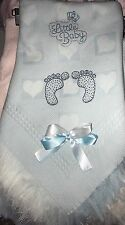 beautiful white/ Blue baby Boys shawl **NEW**  PERSONALISED Footprints