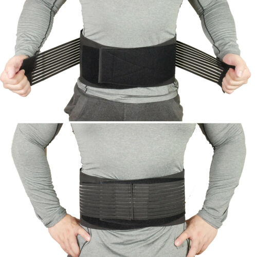 2x Adjustable Waist Lumbar Support Brace Belt Strap Pain Relief Steel Reinforced