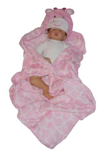 Kuscheldecke  Kapuze Rosa  Babydecke Babywrap flauschig weich Decke für Baby