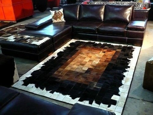 Large Cowhide Rug Patchwork Cowskin Cow Hide Leather Carpet Brown 6x8 Ebay