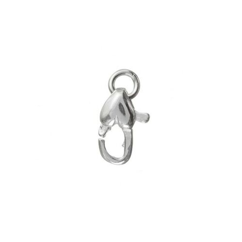 11mm Heart Shaped Lobster Clasp And Jump Ring 925 Sterling Silver A86//7