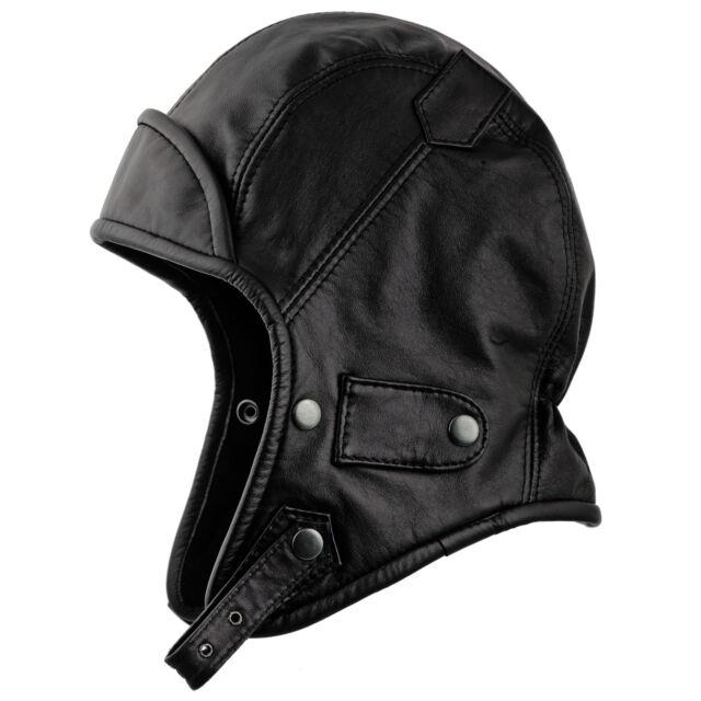 Genuine Leather Trapper Aviator Hat; Pilot Biker Bomber Hood Vintage Snap bill