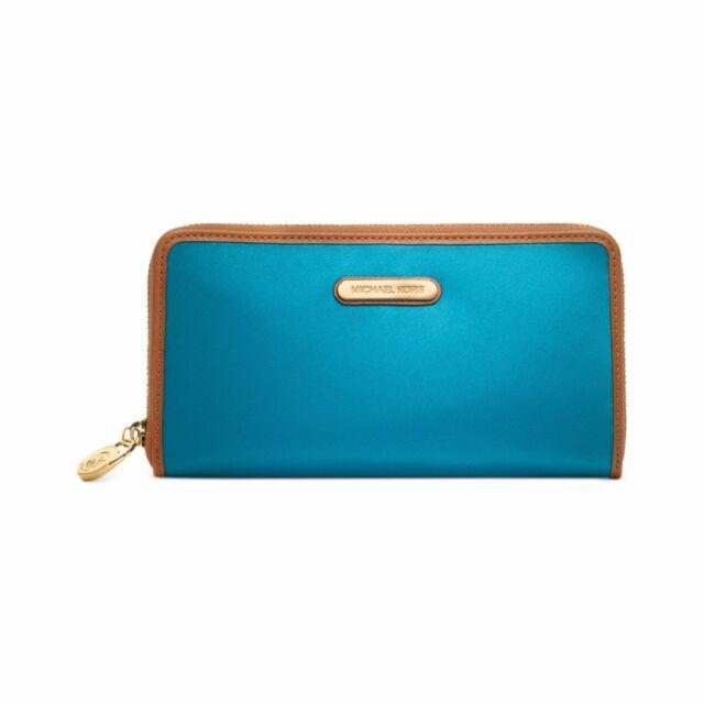 9679ab570cf7ca Michael Kors Kempton Turquoise Blue Nylon Zip Around Continental Wallet