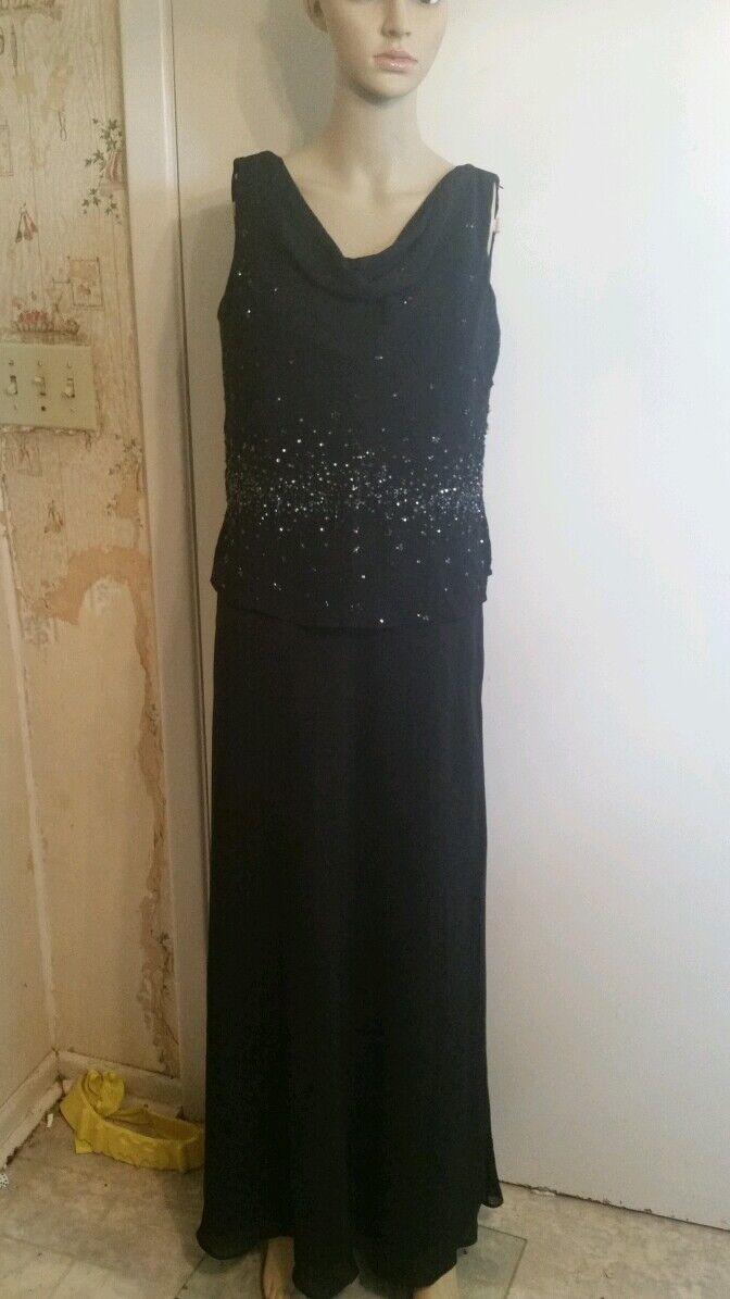Michaelangelo black sleeveless floor length dress Size 14 style