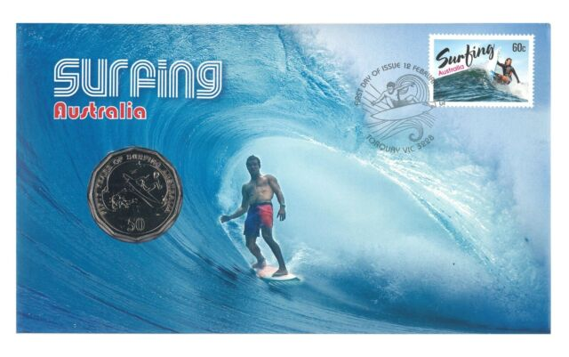 Australia 2013 Surfing 50c Fifty Cents UNC Coin & Stamp PNC Cover