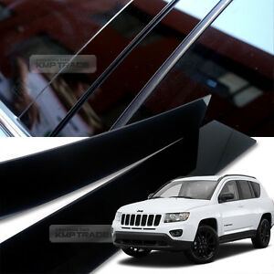 Glossy Black B C Pillar Post UV Coating Cover Trim 8Pcs For JEEP 07-16 Compass