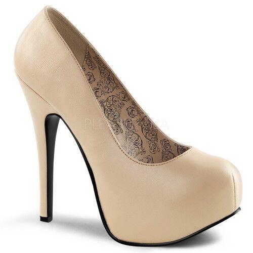 Pleaser TEEZE-06W Damenschuhe Casual Cream Faux Leder Hidden Platform Pump Heels