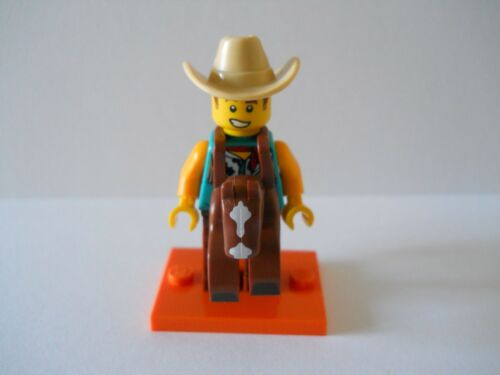 LEGO SERIES 18 #15 COWBOY COSTUME GUY MINI FIGURE *NEW* WITH  COLLECTORS LEAFLET