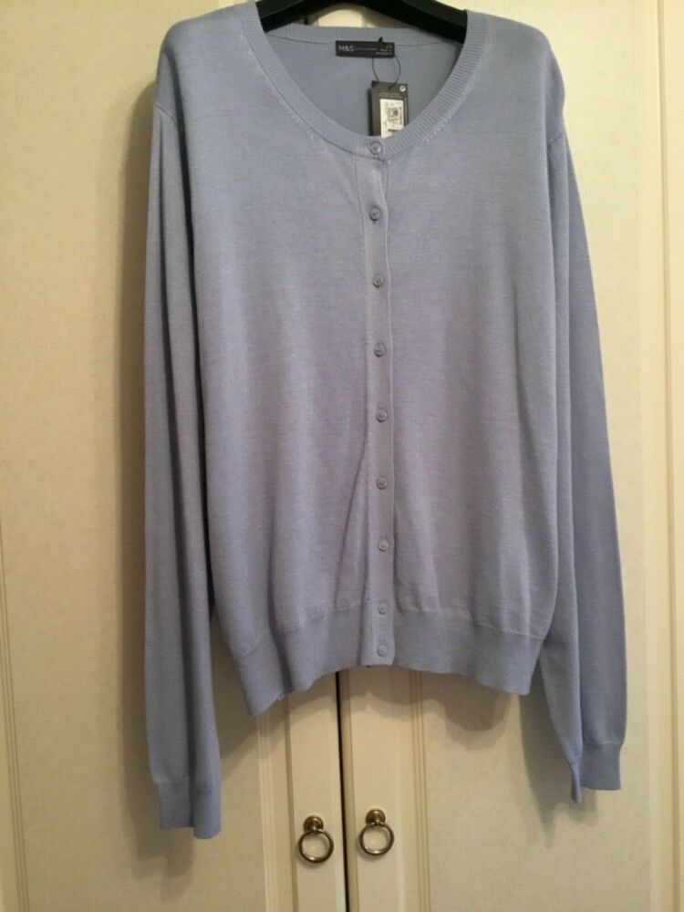 Marks And Spencers Collections 22 Bleu Pâle Femme Cardigan £ 25 Staynew New...
