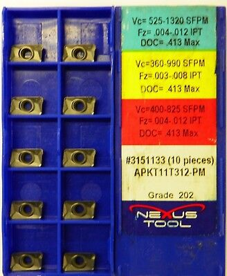 NEXUS CARBIDE INSERTS APKT 11T312 PM 202 Indexable End Mill Coated  A018 20 PCS