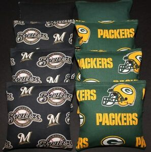 Milwaukee Brewers & Green Bay Packers CORNHOLE BEAN BAGS ACA Regulation Game