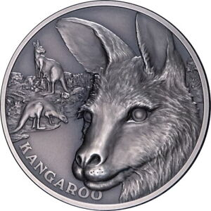 Niue 2021 Kangaroo Wildlife Up Close $1 1 Troy Oz Pure Silver HIGH RELIEF in OGP