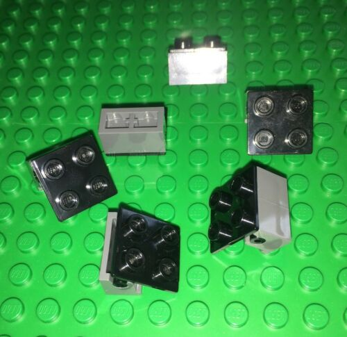 Lot Of 6 Lego Hinges Dark Grey /& Black Moving Parts 2x2 City Pivot