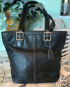 Coach-Black-Soft-Leather-Medium-Bucket-Bag-Very-Good-Condition