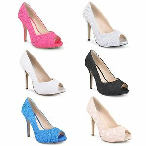 Womens Ladies Platform Pumps Stiletto High Heel Peep Toe Lace Party Court Shoes