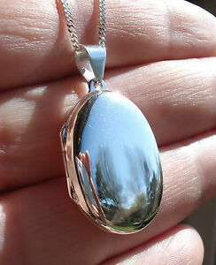 925-Sterling-Silver-Plain-Large-Oval-Locket-Pendant-Necklace-Jewelley-Boxed