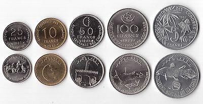 COMOROS – RARE 5 DIF UNC COINS SET: 5 - 100 FRANCS