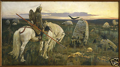 A Knight at the Crossroads by Viktor Vasnetsov 1882, Art Print 10x6 inches