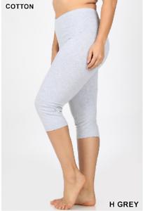 Zenana Outfitters Premium Stretch Cotton  Longer Length Capri Leggings 1X Plum