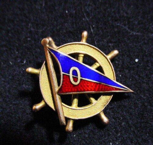 Antique YACHTING Enameled BLUE & RED PENNANT with O on SHIPS WHEEL 14K Gold PIN