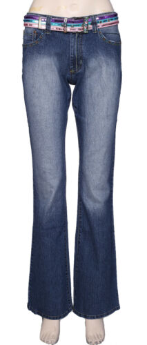 New Womens Mid Rise Boot Cut Jeans Ladies Stretch Denim Pants Trouser Size 6-12
