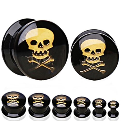 PAIR-Skull Gold on Black Acrylic Screw On Stash Ear Plugs 06mm//2 Gauge Body Jewe