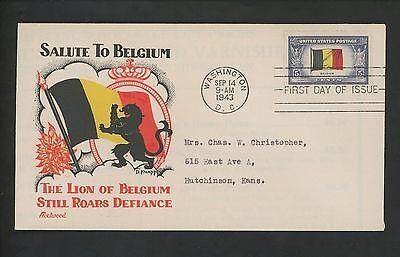 US FDC #914 Fleetwood / Knapp M-37 1943 DC Belgium Overrun Nations ( Flags )