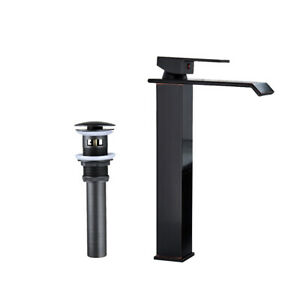Matte-Black-Bathroom-Sink-Faucet-Tall-Countertop-Lavatory-Basin-Mixer-Tap-amp-Drain