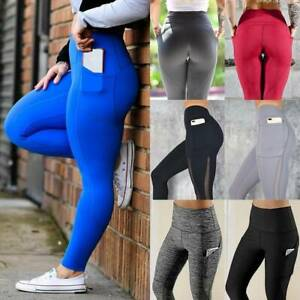 Women High Waist Yoga Pants Pockets Butt Lift Leggings Ruched Fitness Trousers D