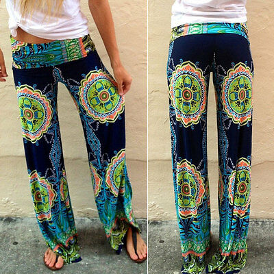 Womens Ladies Casual Floral Print Flare Wide Leg Palazzo Trousers Long Pants