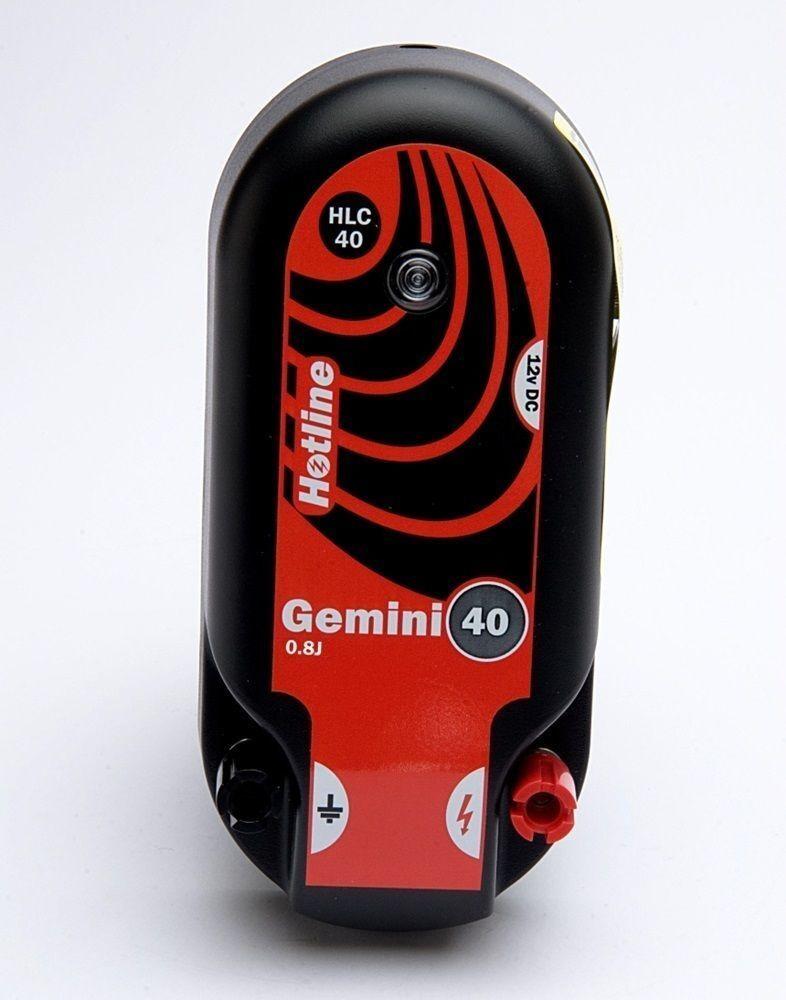 Electric Fencing Gemini 40, 0.8J Battery or Mains Energiser - 3 Year Warranty
