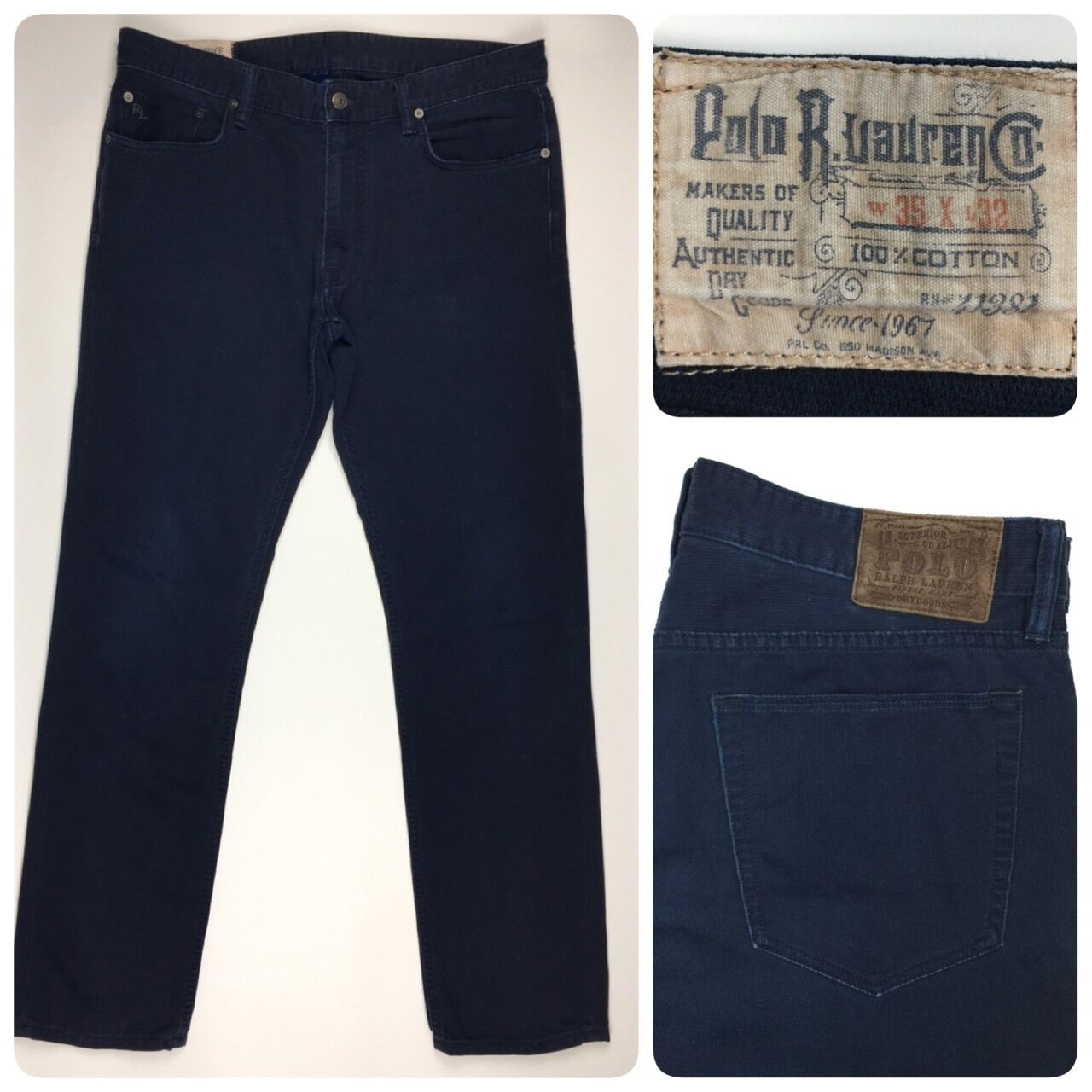 Polo Ralph Lauren Men's Straight Leg Navy bluee Corduroy Jean Pants 35x32