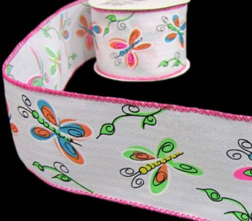 10 yards butterfly butterflies spring summer glitter sparkle satin wired ribbon