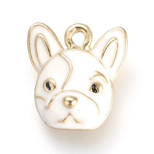 10pcs Alloy Enamel Dog Charms Cute Animal Mini Dangle Pendants Findings 15x14mm