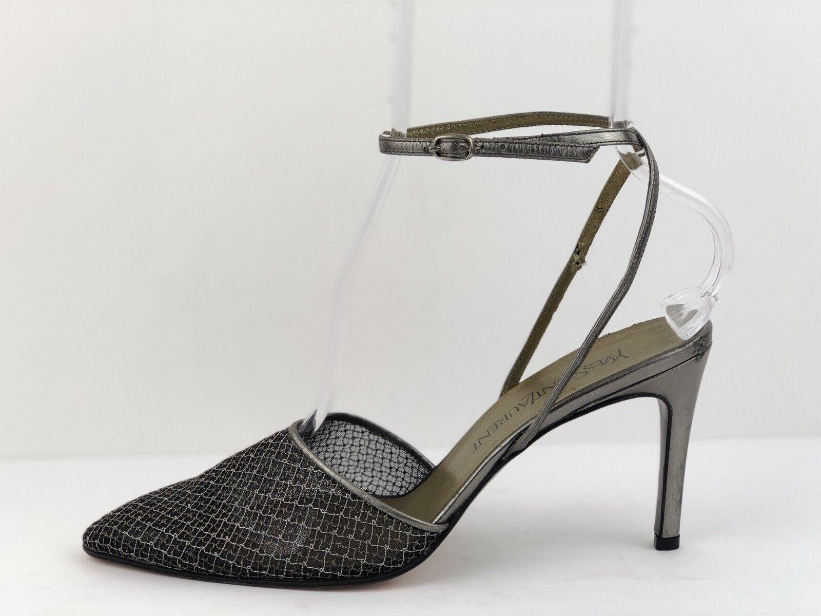 Yves Saint Größe Laurent YSL Silver Metallic Größe Saint 8 Mesh Ankle Wrap Sexy Heels ITALY 6ad187