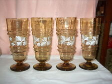 FLORAL & MELON RIB ALE GLASSES SET OF (4)SMOKE BROWN TINT COLOR W/RAISED FLORAL