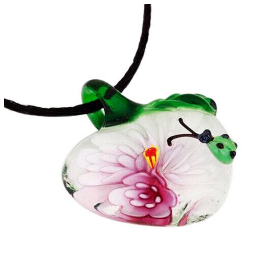 1 Pcs Coeur Avec Fleur Coccinelle Lampwork Art Verre PerlÉ Pendentif Collie R3S9