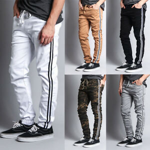 Victorious Mens Elastic Waist Side Stripe Jogger Twill Pants