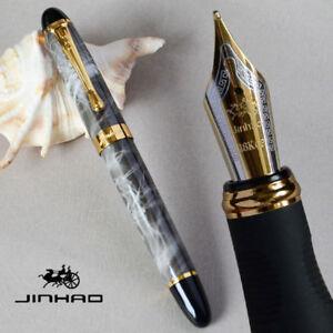 New Jinhao X450 Luxury Dark Green Fountain Pen 0.7mm Broad Nib 18KGP Golden Trim