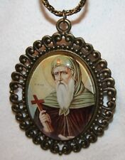 Handsome Orthodox Icon St. John Glass Cameo Medal Pendant Necklace
