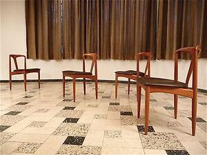 Set Of 4 Juliane Teak Leather Dining Chairs Johannes Andersen Stuhle Uldum 1960s Ebay