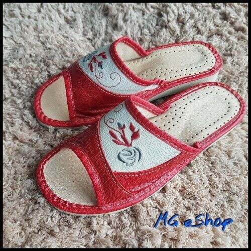 Women/'s//Ladies Open Toe Red Slippers Natural Leather House Shoes Size 4-7