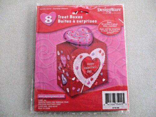 8 NEW DesignWare HAPPY VALENTINE'S DAY Red Hearts Cardboard Party TREAT BOXES