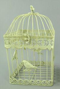 Antico Decorazione Gabbia per Uccelli IN Metallo Piante Fiori Bianco (G)