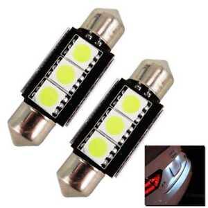 2-x-Bombillas-3-LED-5050-SMD-CANBUS-C5W-36MM-Posicion-Bombilla-Blanco