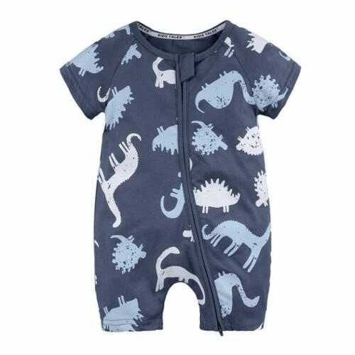 NEW Toddler Newborn Baby Boy Girl Dinosaur Zip Rompers Jumpsuit Outfits Clothes
