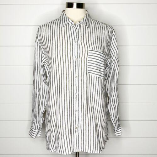 J. Jill Love Linen Striped Button Up Shirt Green W