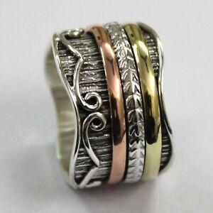 Solid-925-Sterling-Silver-Spinner-Ring-Meditation-Statement-Ring-Size-V1049
