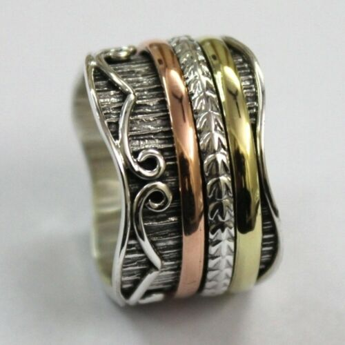 Solid 925 Sterling Silver Spinner Ring Meditation Statement Ring Size V1049