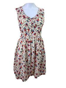 Princess-Highway-Size-8-Cream-amp-Floral-V-Collared-Neckline-Fit-N-Flare-Dress